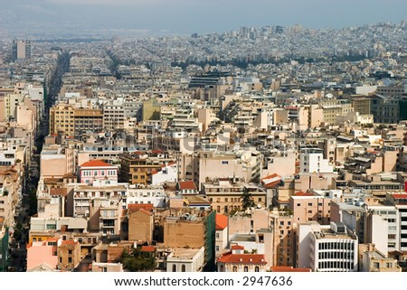 A panoramic view of Athens (from the Acropolis).
