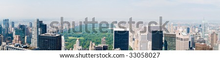 A panoramic view of Central Park and New York, US - stock photo