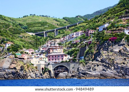 A panoramic view of Cinque Terre, Italy - stock photo