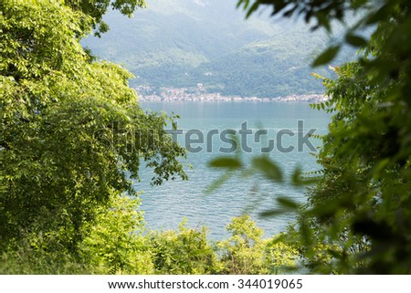 a panoramic view of Como lake,Italy