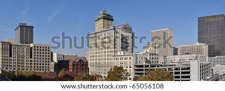 A panoramic view of downtown Dayton, Ohio. - stock photo