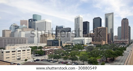 A panoramic view of downtown Houston Texas
