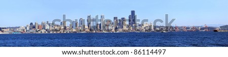 A panoramic view of downtown Seattle and the port of Seattle Washington. - stock photo