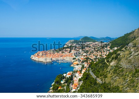 A panoramic view of Dubrovnik in Croatia