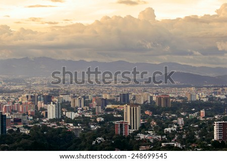 A panoramic view of Guatemala city in the afternoon. - stock photo