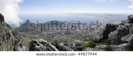 A panoramic view of Lions Head, Signal Hill and the city bowl of Cape Town, South Africa, as seen from the top of Table MountainPanorama - stock photo