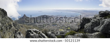 A panoramic view of Lions Head, Signal Hill and the city bowl of Cape Town, South Africa, as seen from the top of Table Mountain