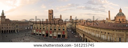 A panoramic view of main square - bologna, italy - stock photo