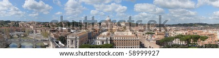 A panoramic view of Rome, with the Vatican, the Tiber and its bridges, taken from Castel Santangelo terrace - stock photo