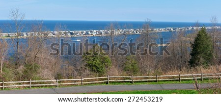 A panoramic view of Sea Bright as seen from the Atlantic Highlands along the Jersey shore. - stock photo