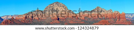 A panoramic view of some of the red rocks in Sedona, Arizona, USA - stock photo