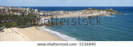 A panoramic view of St. Ives in Cornwall, UK