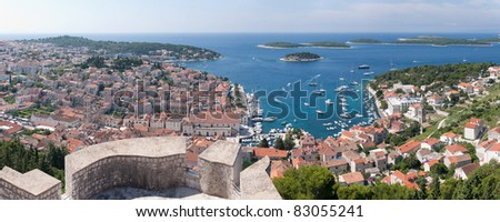 a panoramic view of the city hvar and its bordering islands on the island hvar in croatia - stock photo