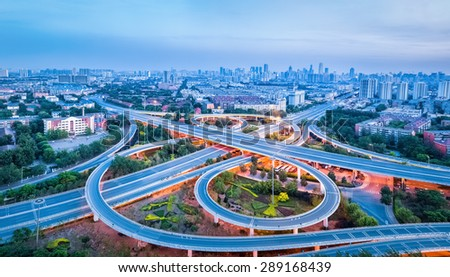 a panoramic view of the city interchange road in tianjin at dusk - stock photo