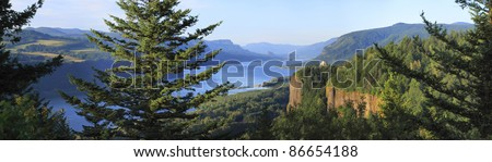A panoramic view of the Columbia River Gorge & Crown point from the women's forum, Oregon. - stock photo