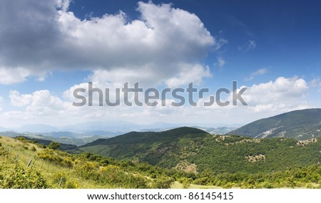 A panoramic view of the countryside. - stock photo