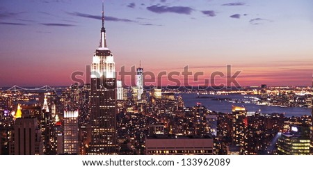 A panoramic view of the Manhattan skyscraper, New York City, USA - stock photo