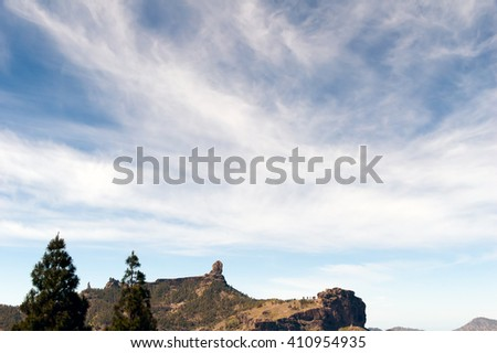A panoramic view of the Nublo (in the center) and Monk rocks (left) in Grand Canary island
