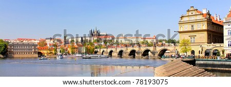A panoramic view of the Prague Castle (Prazsky hrad) and the Charles Bridge (Karluv most). Here the Kings of Bohemia, and presidents of Czechoslovakia and the Czech Republic have had their offices. - stock photo