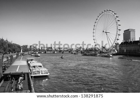 A panoramic view of the River Thames and the London Eye. - stock photo