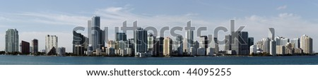 A panoramic view of the skyline of Miami Florida - stock photo