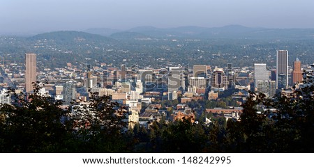 A panoramic view of the skyline of Portland, Oregon.