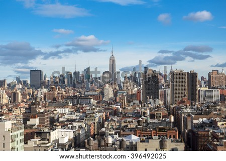 A panoramic view of the skyscrapers on midtown manhattan, New York city.