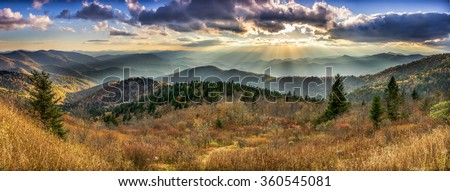 A panoramic view of the Smoky Mountains from the Blue Ridge Parkway in North Carolina - stock photo