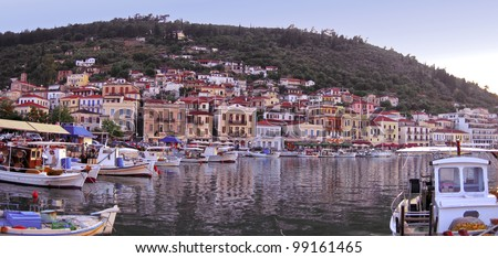 A Panoramic, view of theTraditional village of Gytheio in Greece, - stock photo