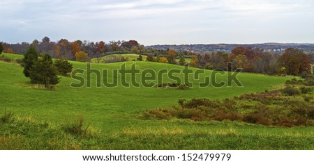 A panoramic view of this early Autumn rolling hillside in Sussex County New Jersey. - stock photo