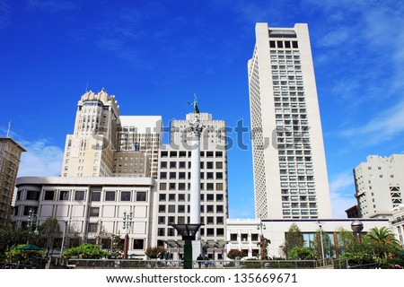 A panoramic view of Union Square in San Francisco, USA - stock photo