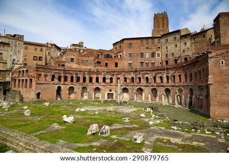 A panoramic view on Trajan's Market (Mercati Traianei) on the Via dei Fori Imperiali, in Rome, Italy - stock photo