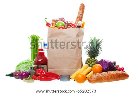 A paper bag full of groceries, surrounded by a panorama of fruits, vegetables, bread, bottled beverages, and canned goods.  White background with light drop shadow. - stock photo