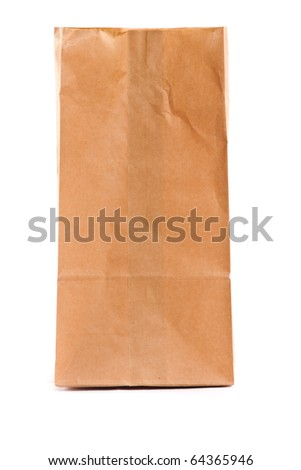 A paper bag. Isolated on white. - stock photo