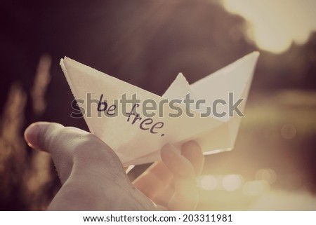 a Paper boat or Bee free, Summer background - stock photo
