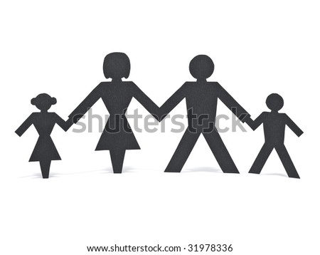 A paper chain family holding hands over a white background. - stock photo