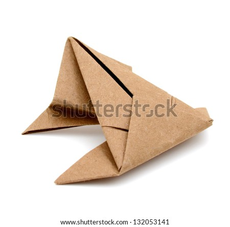 A paper frog origami, isolated white background - stock photo