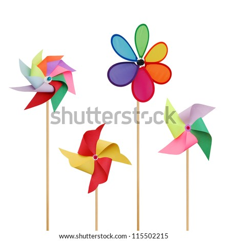A paper game of pinwheels - stock photo