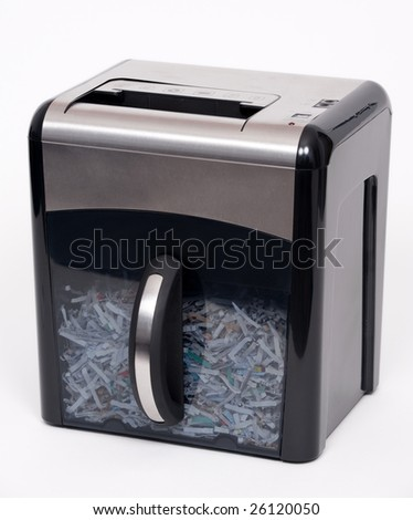 A paper shredder isolated on a white background - stock photo