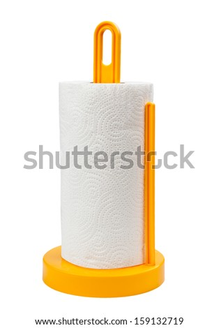 A paper towel holder on a white background - stock photo