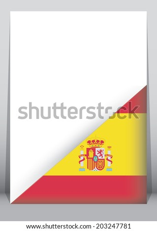 A4 Paper with a corner cover with the flag of Spain - stock photo