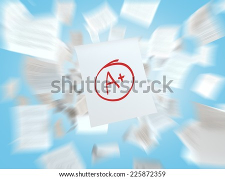 A paper with the top university grade. A concept of mental performance. - stock photo