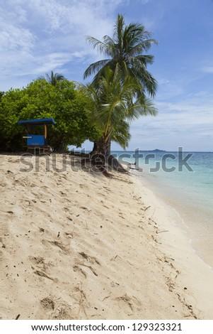 A paradise beach in Borneo, Malaysia. - stock photo