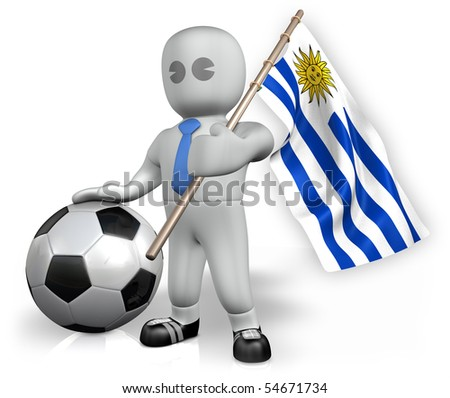 A Paraguay football fan with a ball and a flag - stock photo
