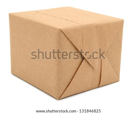 A parcel box with kraft paper, isolated on white