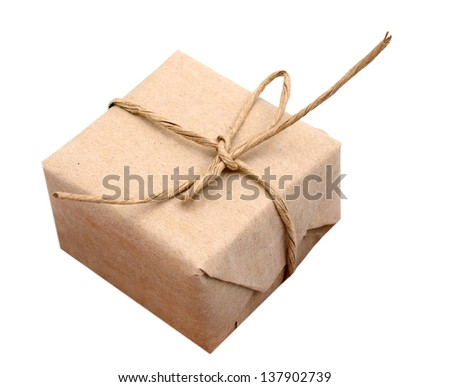 A parcel gift isolated on white background