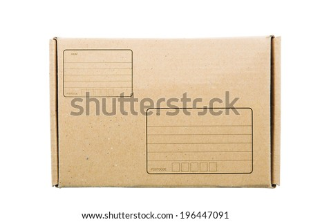 A parcel wrapped in brown paper with address box - stock photo