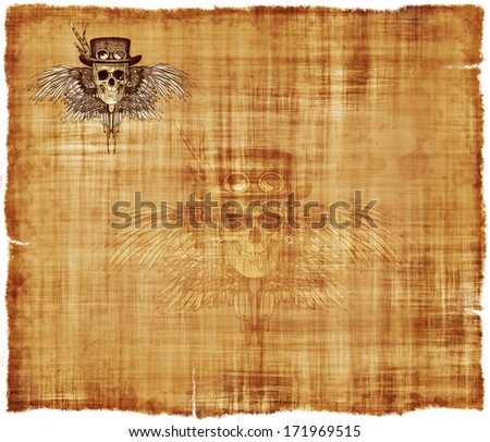 A parchment background featuring a steampunk skull in the upper left hand corner, and a ghost image in the center. - stock photo