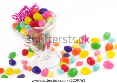 A parfait dish filled with colorful Jellybeans and a Happy Birthday Message