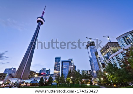 A park in downtown Toronto with high rise building as background - stock photo